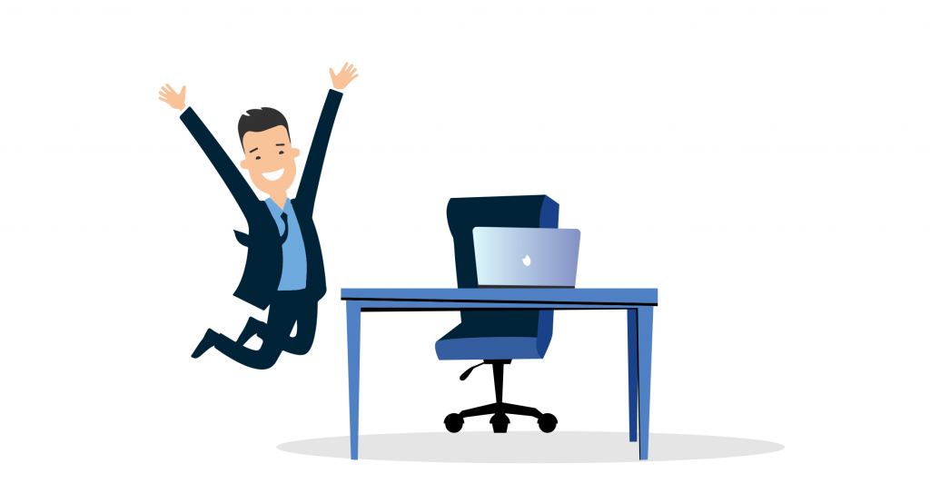 illustration of a happy employee